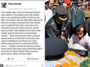 A Facebook status update by wife of a martyr, shared on a Fauji wives' group.