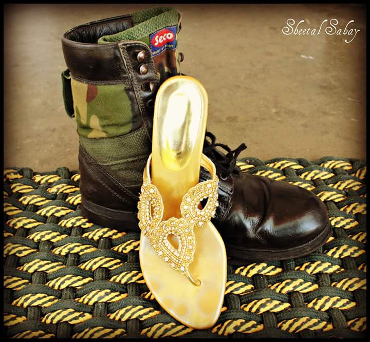 When glitter can boots simply cannot share the same shoe rack. Picture clicked by another Army wife Sheetal Sahay.