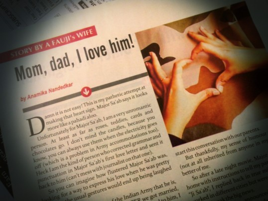 Cool isn't it! A Curious Army Wife writes in the May issue of Fauji India magazine.