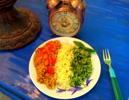 Cook a tricoloured recipe. Ye lo ji Tiranga Maggi!